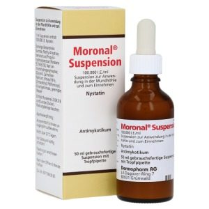 Moronal Suspension wird bei Mundpilz eingesetzt.