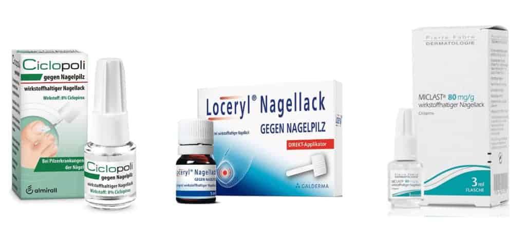 Nagelpilz Lack Vergleich von Ciclopoli, Milast und Loceryl